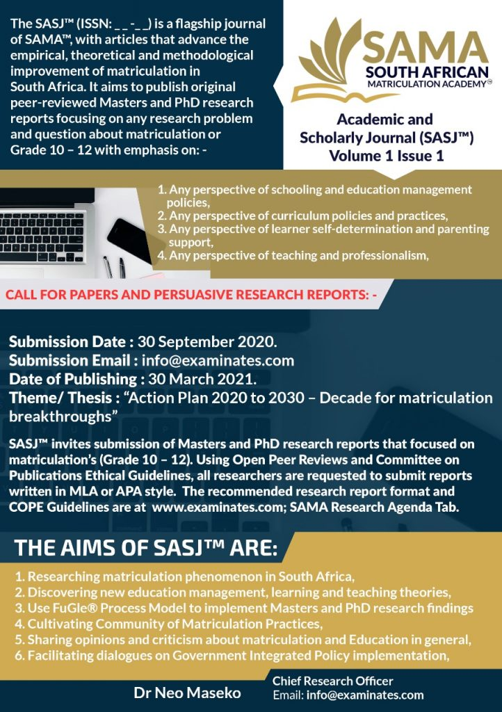 Download the SAMA™ Academic and Scholarly Journal (SASJ™) Rubric HERE